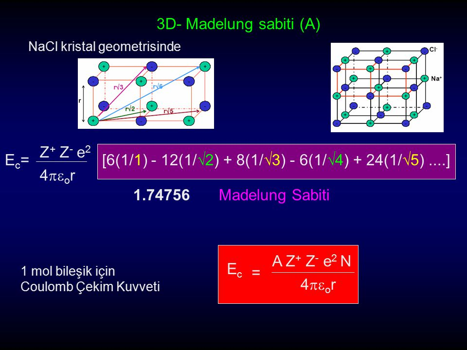 StructureCoordination number Geometrical factor, A Conventional factor, A Sodium chloride6:61.74756 Cesium chloride8:81.76167 Zinc blende4:41.63806 Wurtizite4:41.64132 Fluorite8:42.519395.03878 Rutile6:32.4084.816  -Cristobalite 4:22.2984.597 Corundum6:44.171925.0312 Madelung Sabitleri