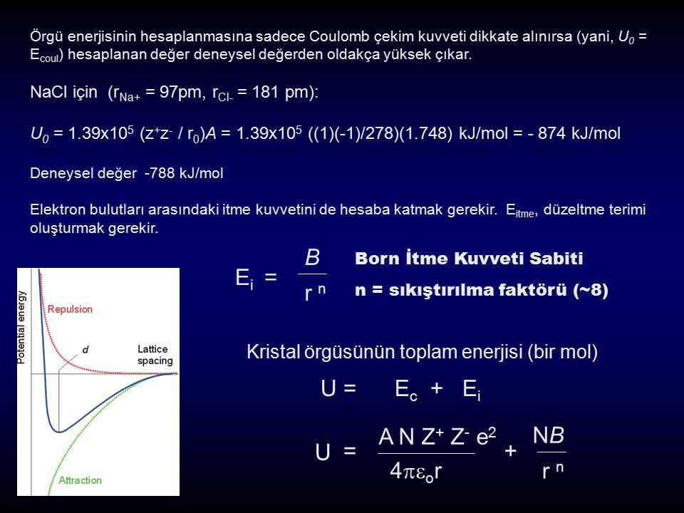 Örgü enerjisinin hesaplanmasına sadece Coulomb çekim kuvveti dikkate alınırsa (yani, U 0 = E coul ) hesaplanan değer deneysel değerden oldakça yüksek