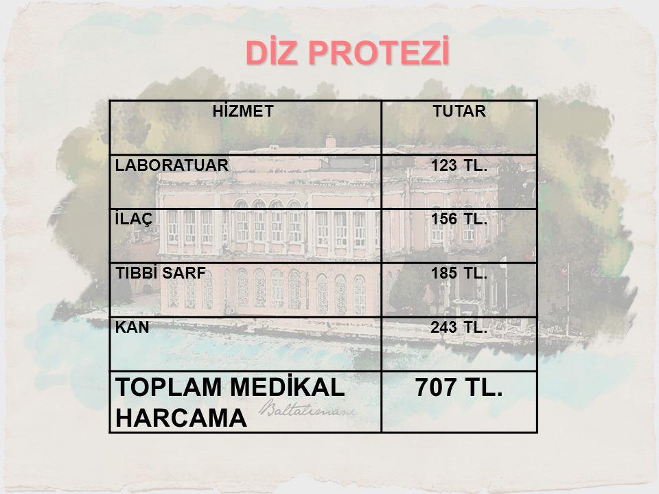 DİZ PROTEZİ HİZMET TUTAR LABORATUAR123 TL. İLAÇ156 TL. TIBBİ SARF185 TL. KAN243 TL. TOPLAM MEDİKAL HARCAMA 707 TL.