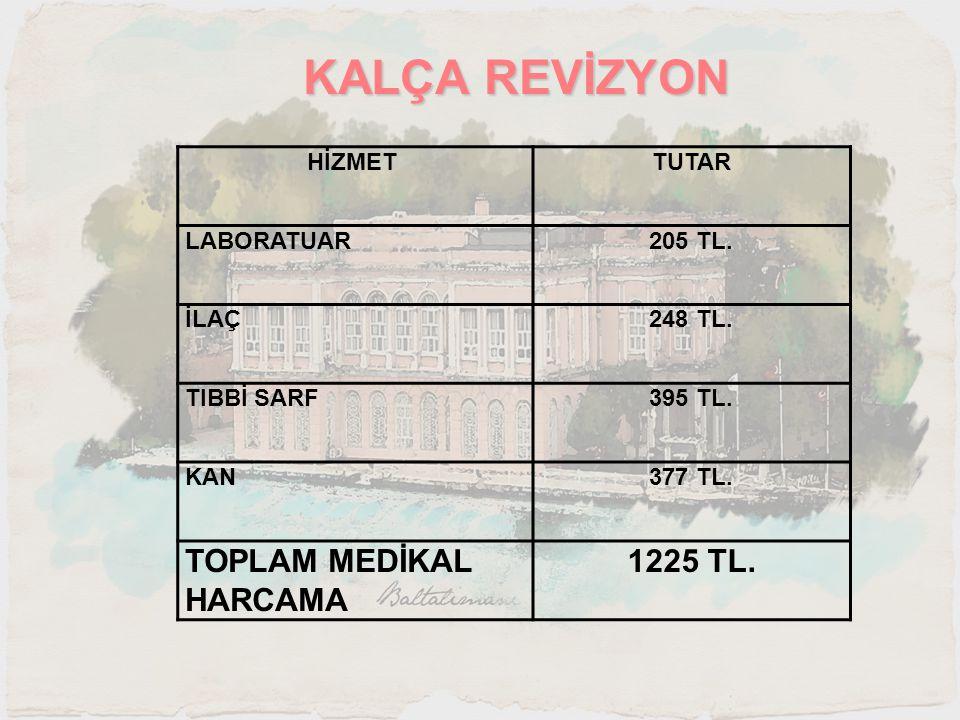 KALÇA REVİZYON HİZMET TUTAR LABORATUAR205 TL. İLAÇ248 TL. TIBBİ SARF395 TL. KAN377 TL. TOPLAM MEDİKAL HARCAMA 1225 TL.