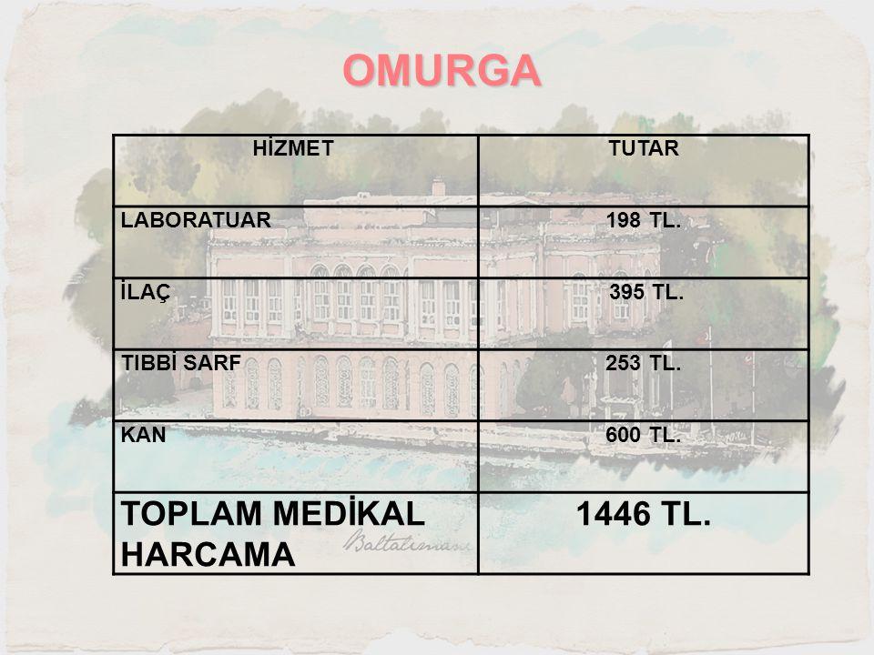 OMURGA HİZMET TUTAR LABORATUAR198 TL. İLAÇ 395 TL. TIBBİ SARF253 TL. KAN600 TL. TOPLAM MEDİKAL HARCAMA 1446 TL.
