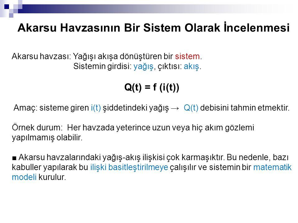 Akarsu Havzasının Bir Sistem Olarak İncelenmesi Akarsu havzası: Yağışı akışa dönüştüren bir sistem. Sistemin girdisi: yağış, çıktısı: akış. Q(t) = f (