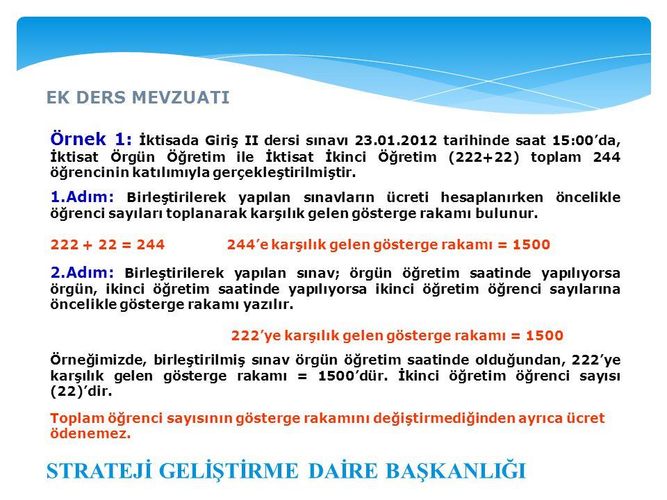 EK DERS MEVZUATI STRATEJİ GELİŞTİRME DAİRE BAŞKANLIĞI Örnek 1: İktisada Giriş II dersi sınavı 23.01.2012 tarihinde saat 15:00'da, İktisat Örgün Öğreti