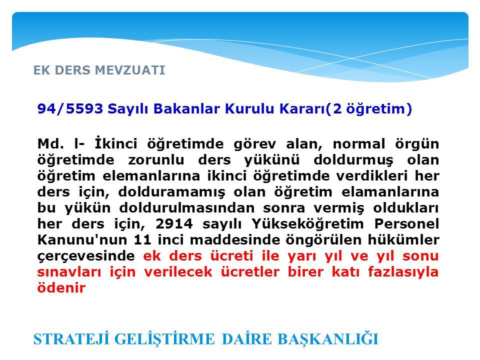 EK DERS MEVZUATI STRATEJİ GELİŞTİRME DAİRE BAŞKANLIĞI 94/5593 Sayılı Bakanlar Kurulu Kararı(2 öğretim) Md. l- İkinci öğretimde görev alan, normal örgü