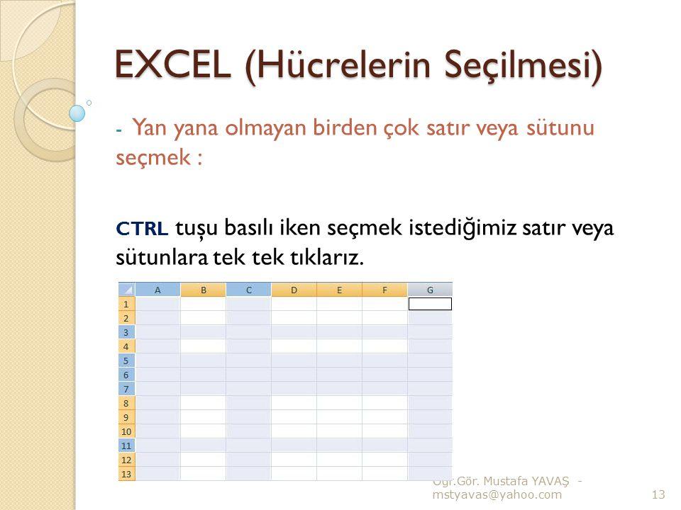 EXCEL (Hücrelerin Seçilmesi) - Yan yana olmayan birden çok satır veya sütunu seçmek : CTRL tuşu basılı iken seçmek istedi ğ imiz satır veya sütunlara