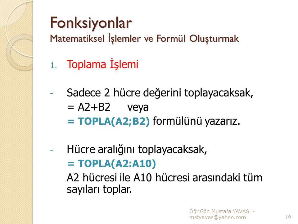 Fonksiyonlar Matematiksel İ şlemler ve Formül Oluşturmak 1. Toplama İşlemi - Sadece 2 hücre değerini toplayacaksak, = A2+B2 veya = TOPLA(A2;B2) formül