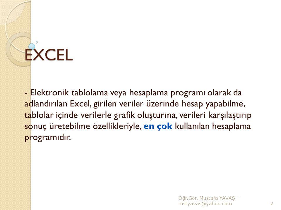 EXCEL (Hücrelerin Seçilmesi) - Yan yana olmayan birden çok satır veya sütunu seçmek : CTRL tuşu basılı iken seçmek istedi ğ imiz satır veya sütunlara tek tek tıklarız.
