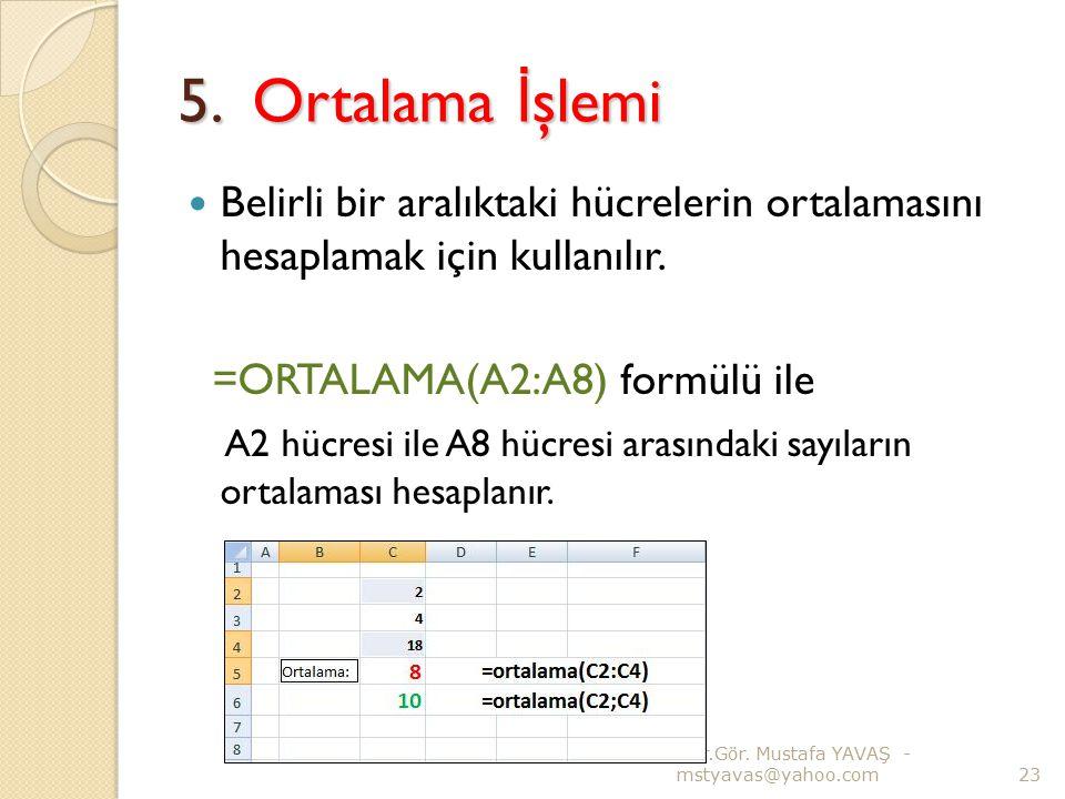 5. Ortalama İ şlemi Belirli bir aralıktaki hücrelerin ortalamasını hesaplamak için kullanılır. =ORTALAMA(A2:A8) formülü ile A2 hücresi ile A8 hücresi