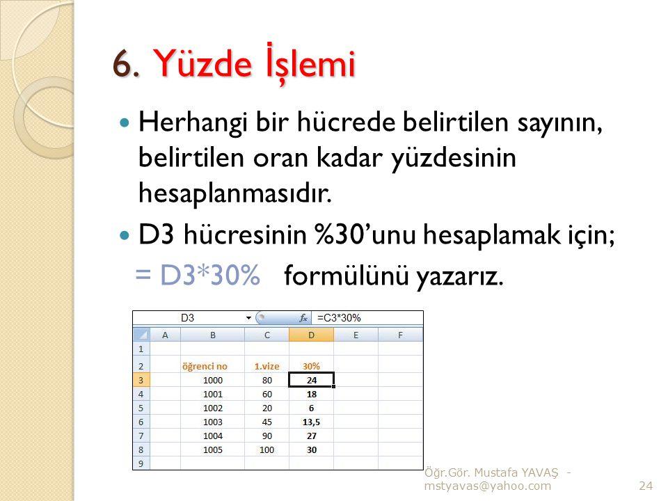 6. Yüzde İ şlemi Herhangi bir hücrede belirtilen sayının, belirtilen oran kadar yüzdesinin hesaplanmasıdır. D3 hücresinin %30'unu hesaplamak için; = D