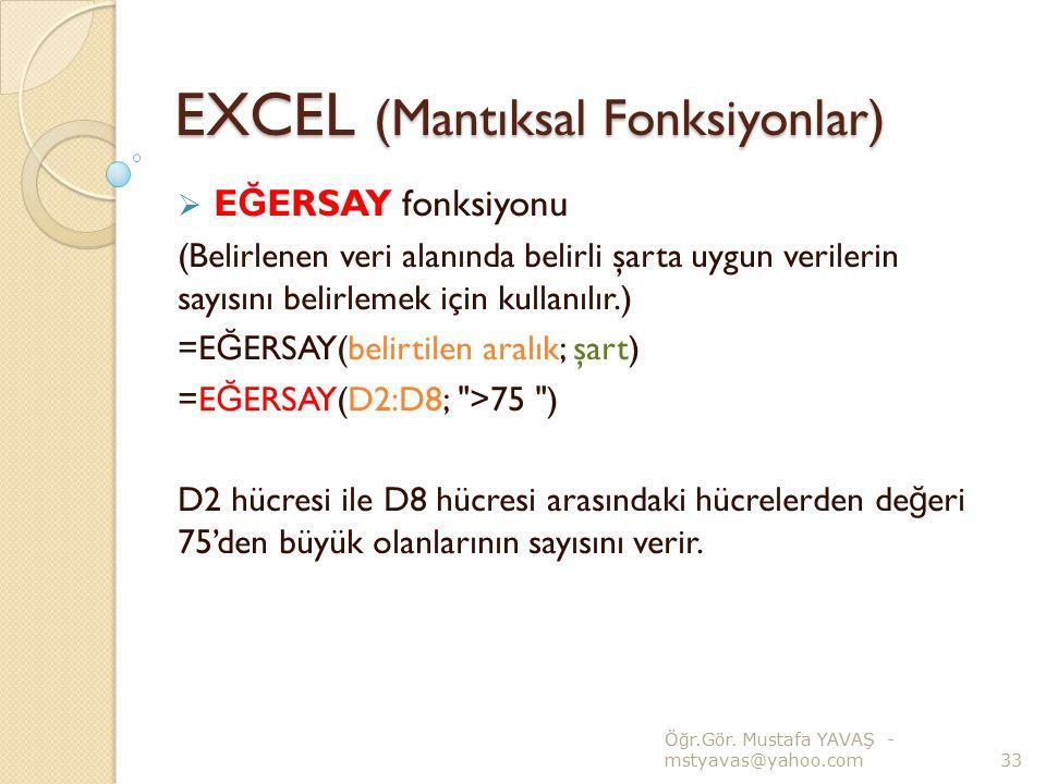 EXCEL (Mantıksal Fonksiyonlar)  E Ğ ERSAY fonksiyonu (Belirlenen veri alanında belirli şarta uygun verilerin sayısını belirlemek için kullanılır.) =E
