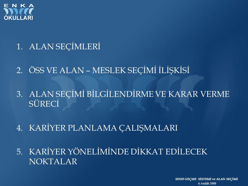 SINIF GEÇME SİSTEMİ ve ALAN SEÇİMİ 4 Aralık 2008 ÖSS 2009 1.
