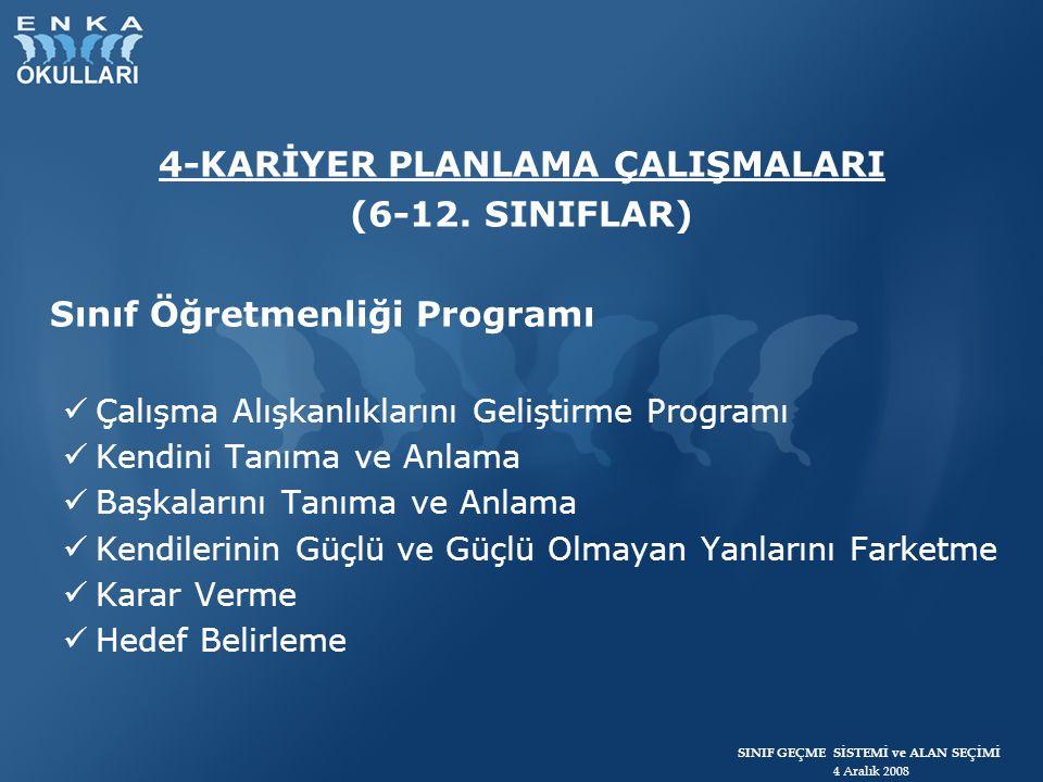 SINIF GEÇME SİSTEMİ ve ALAN SEÇİMİ 4 Aralık 2008 4-KARİYER PLANLAMA ÇALIŞMALARI (6-12. SINIFLAR) Sınıf Öğretmenliği Programı Çalışma Alışkanlıklarını