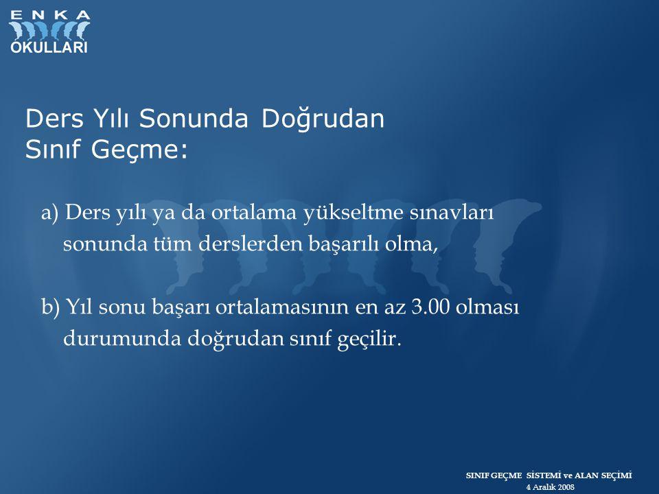 SINIF GEÇME SİSTEMİ ve ALAN SEÇİMİ 4 Aralık 2008 2.