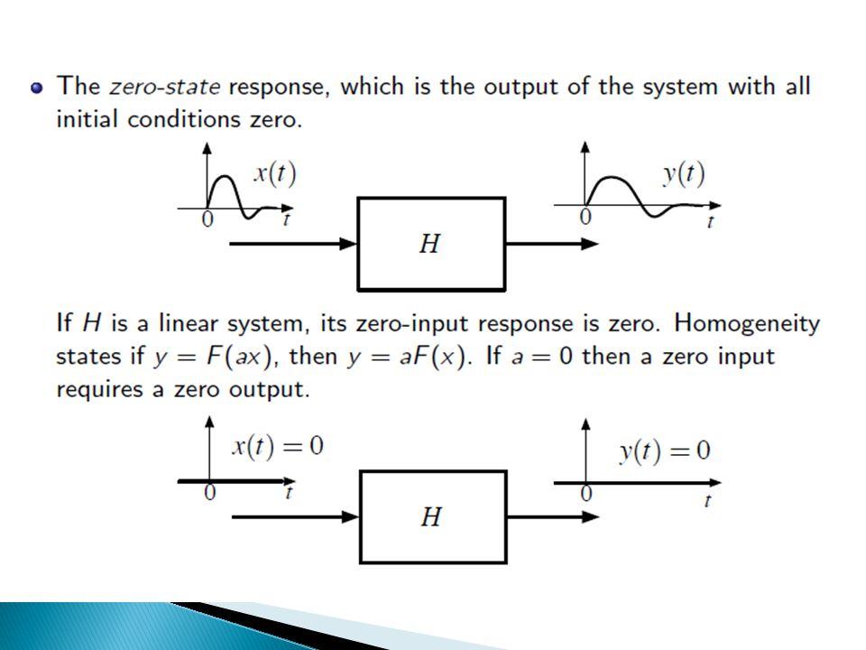  Toplam Yanıt = Sıfır Durum Yanıtı + Sıfır Giriş Yanıtı  Çoğunlukla doğrusal, zamanla değişmez ve nedensel sistemler tercih edildiği için sistemler durağan başlangıç koşullarında ele alınmaktadır.