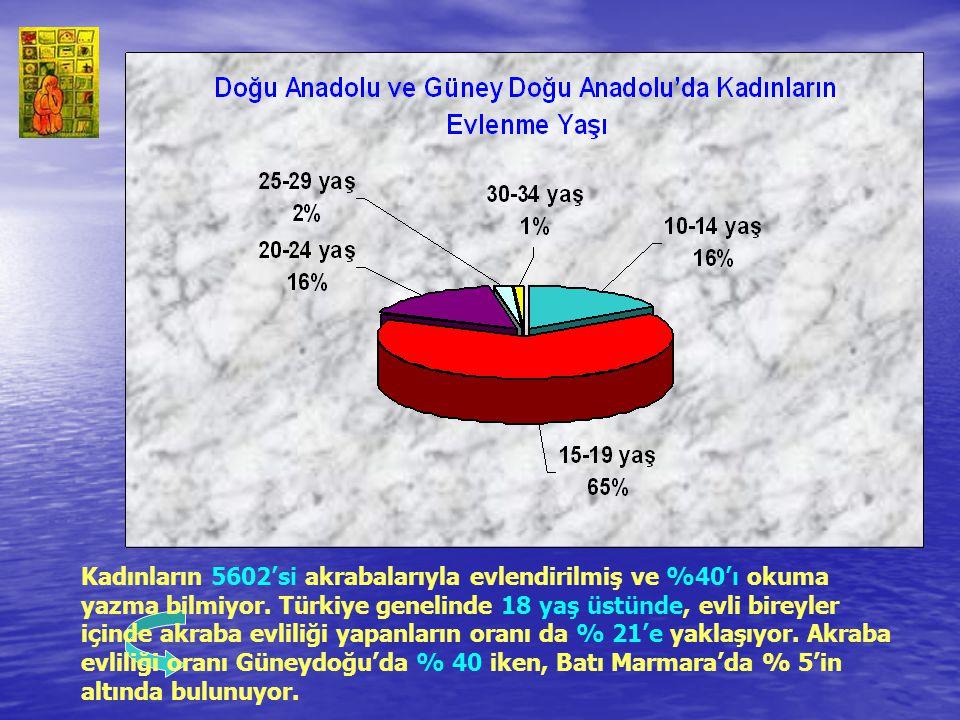 Kadınların 5602'si akrabalarıyla evlendirilmiş ve %40'ı okuma yazma bilmiyor. Türkiye genelinde 18 yaş üstünde, evli bireyler içinde akraba evliliği y