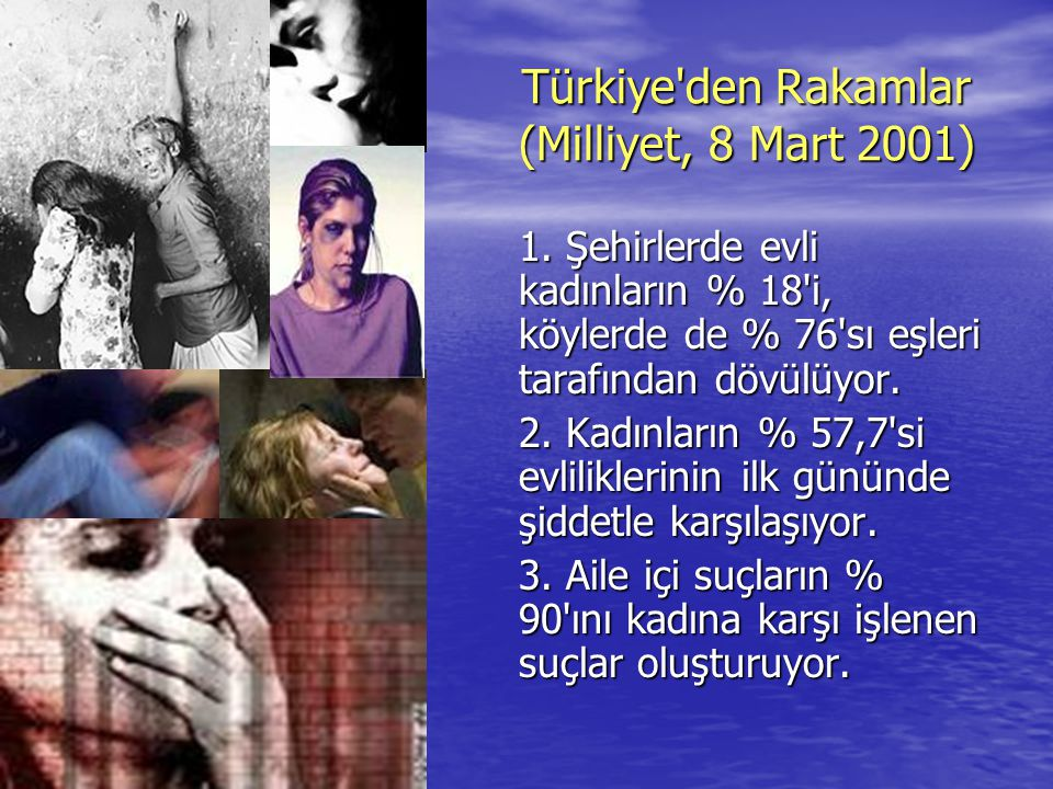 Türkiye'den Rakamlar (Milliyet, 8 Mart 2001) 1. Şehirlerde evli kadınların % 18'i, köylerde de % 76'sı eşleri tarafından dövülüyor. 2. Kadınların % 57