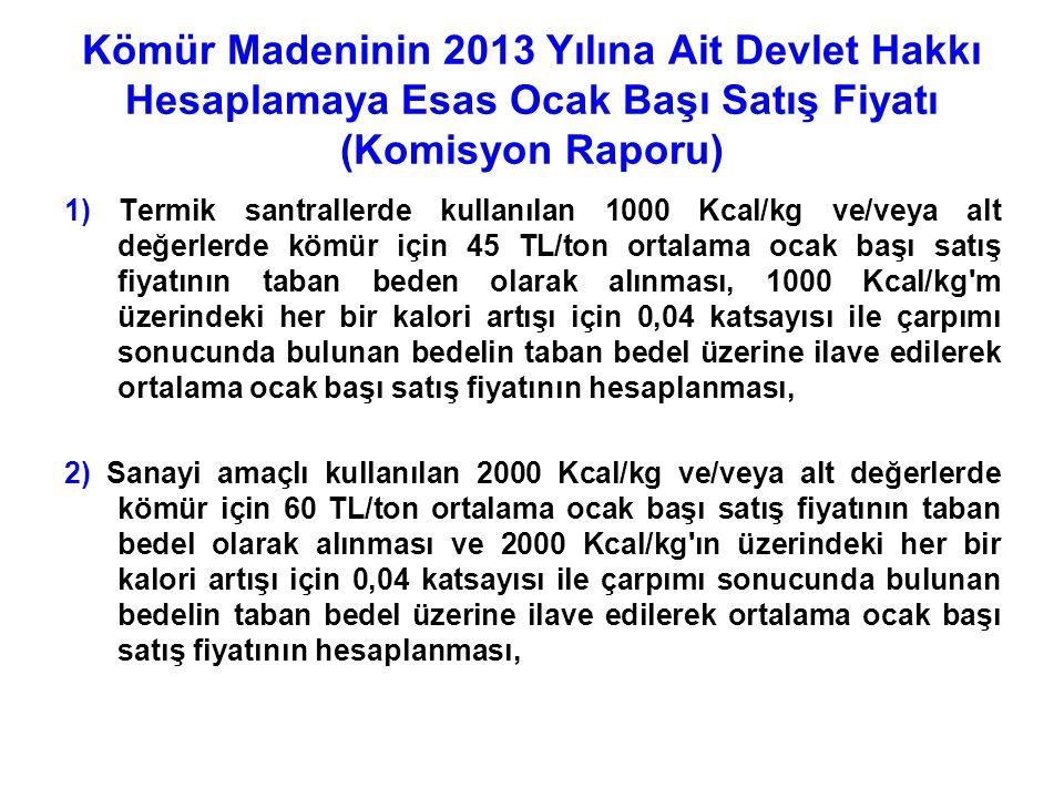 Kömür Madeninin 2013 Yılına Ait Devlet Hakkı Hesaplamaya Esas Ocak Başı Satış Fiyatı (Komisyon Raporu) 1) Termik santrallerde kullanılan 1000 Kcal/kg