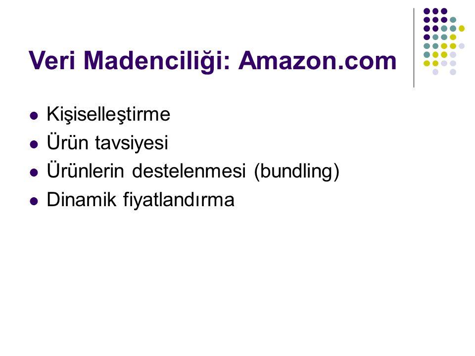 Veri Madenciliği: Amazon.com Kişiselleştirme Ürün tavsiyesi Ürünlerin destelenmesi (bundling) Dinamik fiyatlandırma