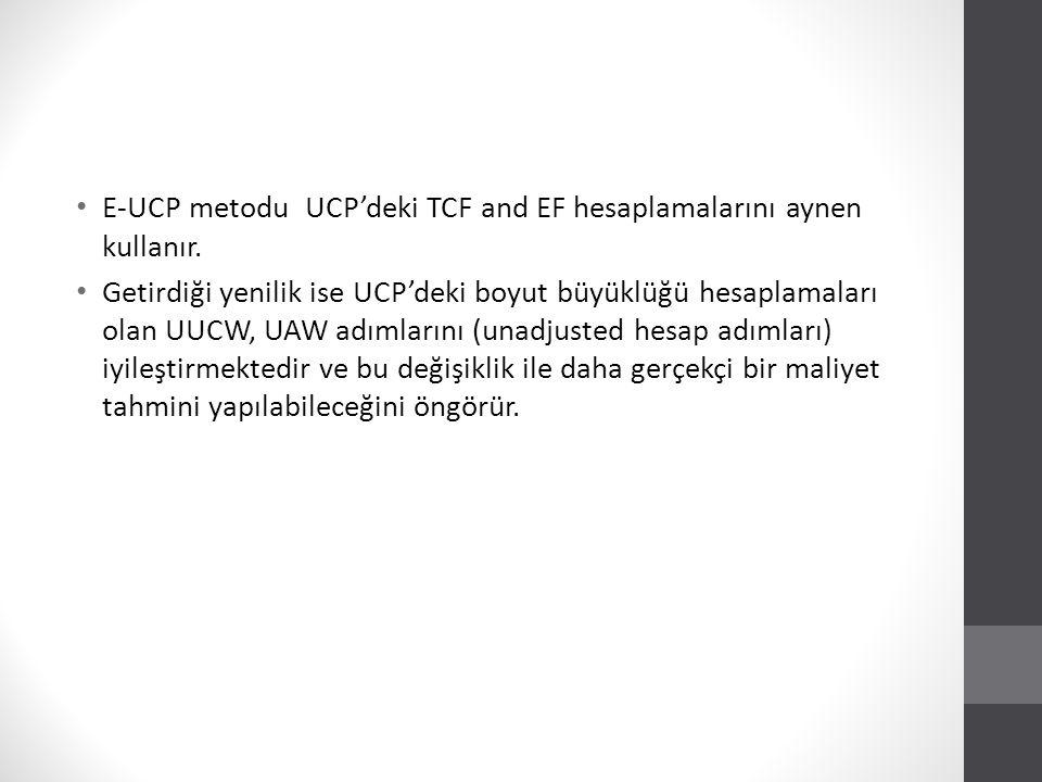 E-UCP Use Case Ağırlıklandırma Use case'ler kullanım ve bağlılık derecesine göre basitten karmaşığa göre sınıflandırılır ve ağırlıklandırma bu şekilde gerçekleştirilir.