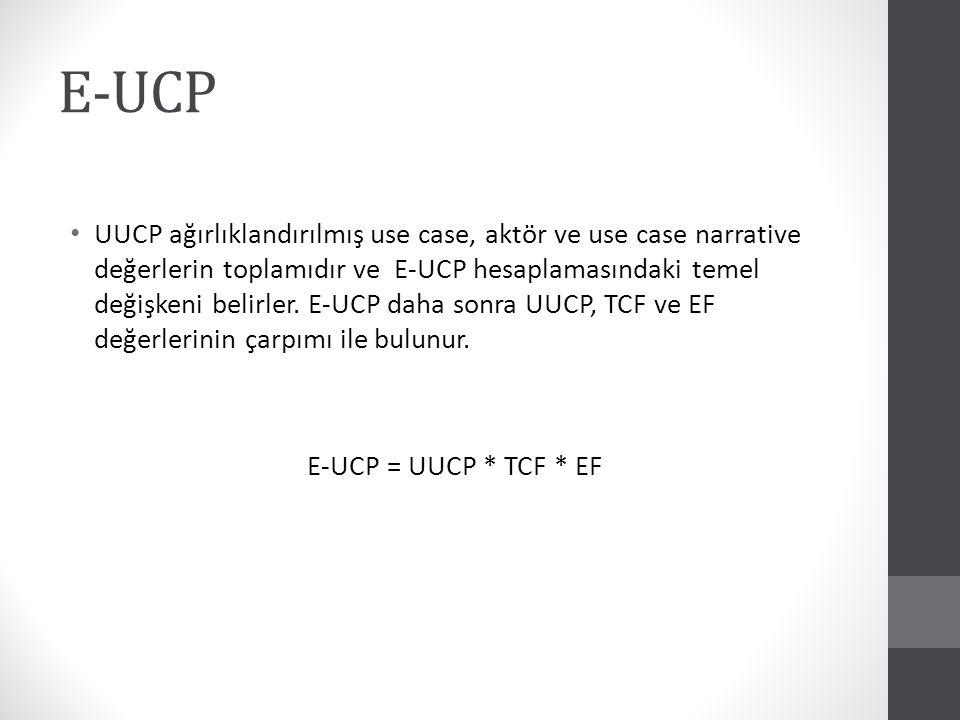 E-UCP hesabı sonucu bulunan değer yazılımın geliştirilmesi sürecindeki gerekli use case sayısını bulmaktadır.