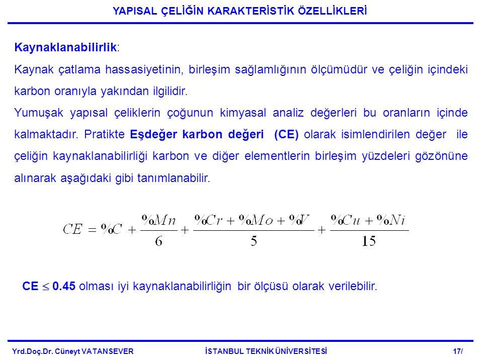 Yrd.Doç.Dr. Cüneyt VATANSEVER İSTANBUL TEKNİK ÜNİVERSİTESİ 17/ YAPISAL ÇELİĞİN KARAKTERİSTİK ÖZELLİKLERİ Kaynaklanabilirlik: Kaynak çatlama hassasiyet