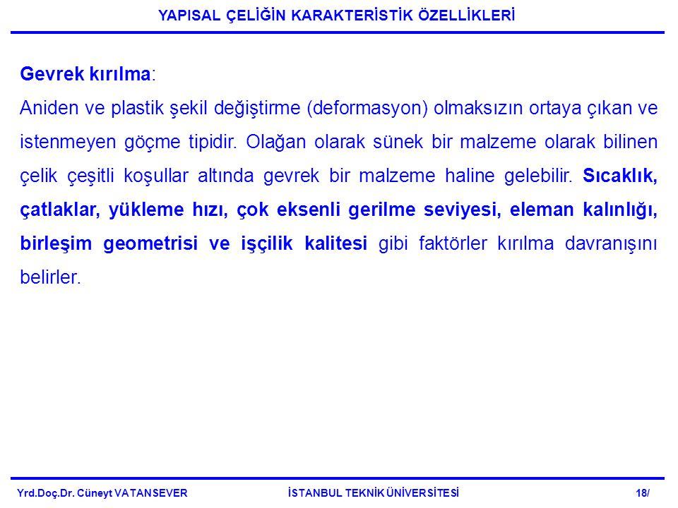 Yrd.Doç.Dr. Cüneyt VATANSEVER İSTANBUL TEKNİK ÜNİVERSİTESİ 18/ YAPISAL ÇELİĞİN KARAKTERİSTİK ÖZELLİKLERİ Gevrek kırılma: Aniden ve plastik şekil değiş