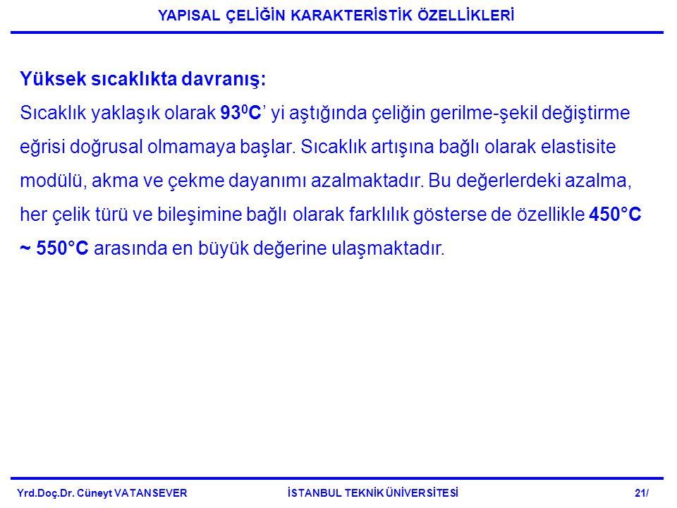 Yrd.Doç.Dr. Cüneyt VATANSEVER İSTANBUL TEKNİK ÜNİVERSİTESİ 21/ YAPISAL ÇELİĞİN KARAKTERİSTİK ÖZELLİKLERİ Yüksek sıcaklıkta davranış: Sıcaklık yaklaşık