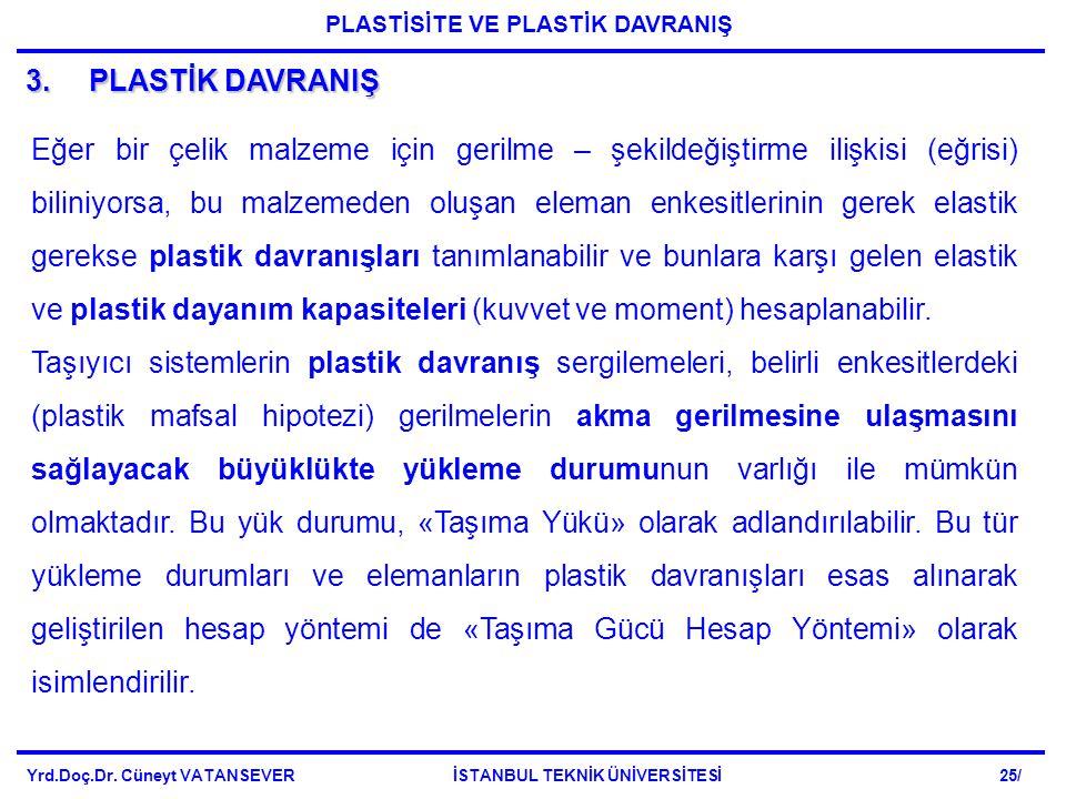 3.PLASTİK DAVRANIŞ Eğer bir çelik malzeme için gerilme – şekildeğiştirme ilişkisi (eğrisi) biliniyorsa, bu malzemeden oluşan eleman enkesitlerinin gerek elastik gerekse plastik davranışları tanımlanabilir ve bunlara karşı gelen elastik ve plastik dayanım kapasiteleri (kuvvet ve moment) hesaplanabilir.