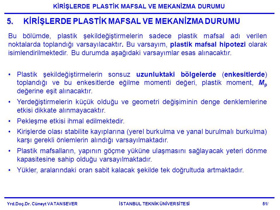 5. 5.KİRİŞLERDE PLASTİK MAFSAL VE MEKANİZMA DURUMU Bu bölümde, plastik şekildeğiştirmelerin sadece plastik mafsal adı verilen noktalarda toplandığı va