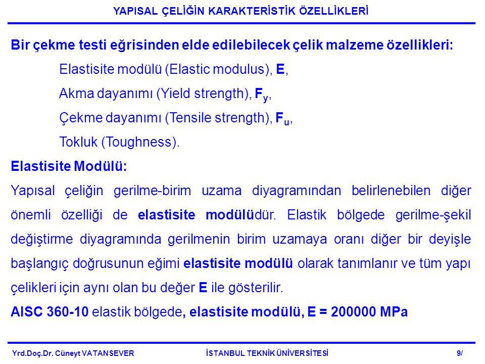 Bir çekme testi eğrisinden elde edilebilecek çelik malzeme özellikleri: Elastisite modülü (Elastic modulus), E, Akma dayanımı (Yield strength), F y, Çekme dayanımı (Tensile strength), F u, Tokluk (Toughness).