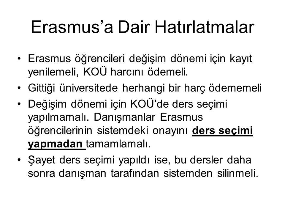 Erasmus'a Dair Hatırlatmalar Erasmus öğrencileri değişim dönemi için kayıt yenilemeli, KOÜ harcını ödemeli.