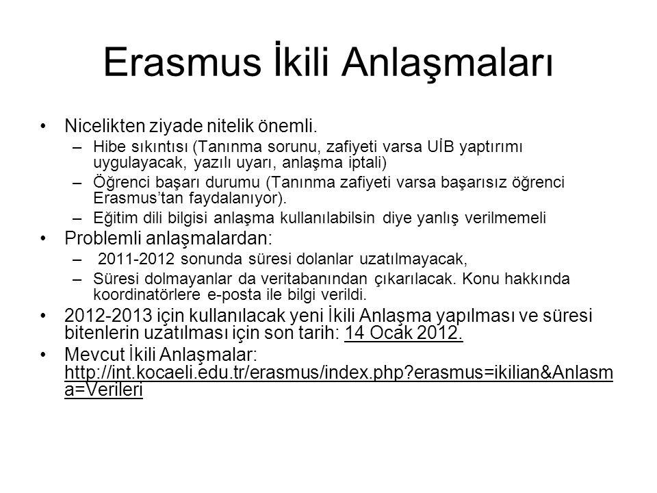 Buna göre, Erasmus'a başvuru aşamasında 2.sınıfta olan öğrenciler 2.
