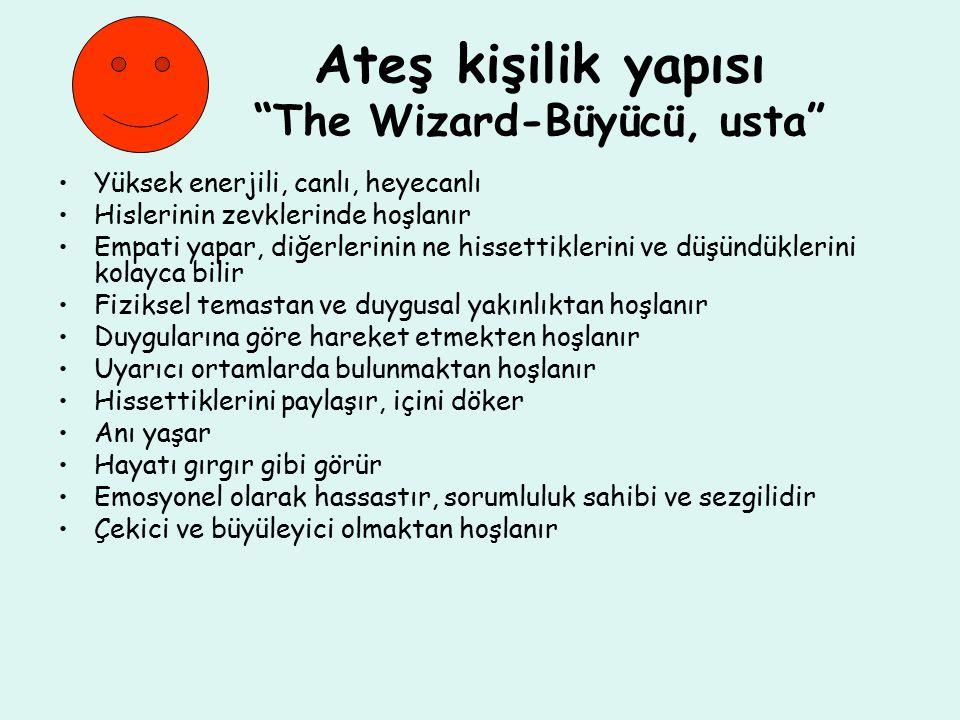 Ateş kişilik yapısı The Wizard-Büyücü, usta Yüksek enerjili, canlı, heyecanlı Hislerinin zevklerinde hoşlanır Empati yapar, diğerlerinin ne hissettiklerini ve düşündüklerini kolayca bilir Fiziksel temastan ve duygusal yakınlıktan hoşlanır Duygularına göre hareket etmekten hoşlanır Uyarıcı ortamlarda bulunmaktan hoşlanır Hissettiklerini paylaşır, içini döker Anı yaşar Hayatı gırgır gibi görür Emosyonel olarak hassastır, sorumluluk sahibi ve sezgilidir Çekici ve büyüleyici olmaktan hoşlanır
