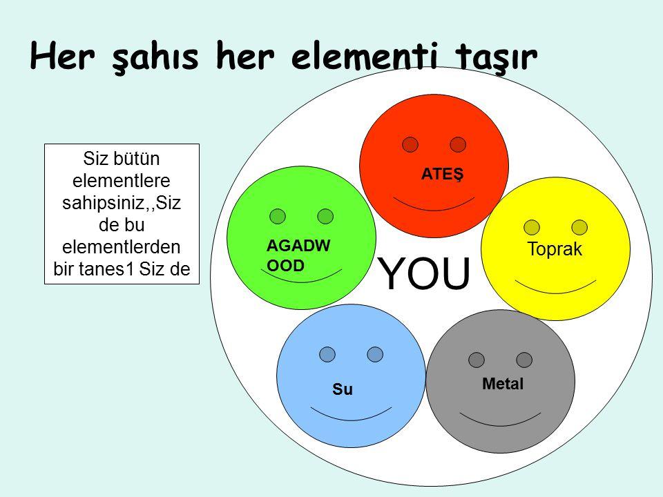 Her şahıs her elementi taşır Toprak AGADW OOD ATEŞ Metal Su YOU Siz bütün elementlere sahipsiniz,,Siz de bu elementlerden bir tanes1 Siz de