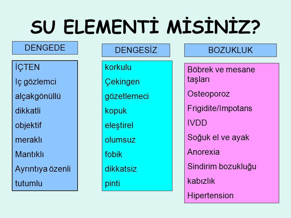 SU ELEMENTİ MİSİNİZ.