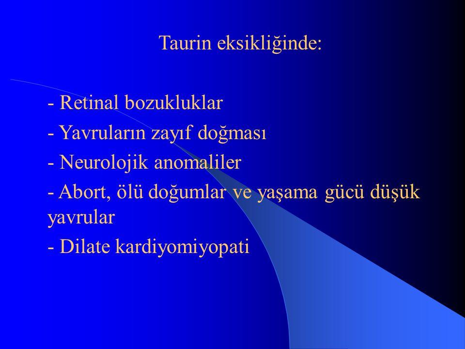 Taurin eksikliğinde: - Retinal bozukluklar - Yavruların zayıf doğması - Neurolojik anomaliler - Abort, ölü doğumlar ve yaşama gücü düşük yavrular - Dilate kardiyomiyopati