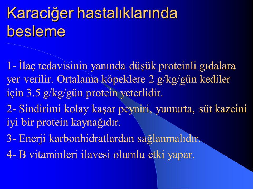 Karaciğer hastalıklarında besleme 1- İlaç tedavisinin yanında düşük proteinli gıdalara yer verilir.