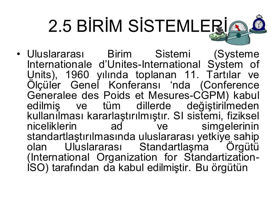 2.5 BİRİM SİSTEMLERİ Uluslararası Birim Sistemi (Systeme Internationale d'Unites-International System of Units), 1960 yılında toplanan 11. Tartılar ve