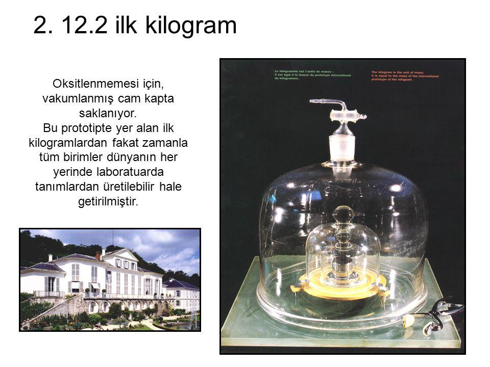 2. 12.2 ilk kilogram Oksitlenmemesi için, vakumlanmış cam kapta saklanıyor. Bu prototipte yer alan ilk kilogramlardan fakat zamanla tüm birimler dünya