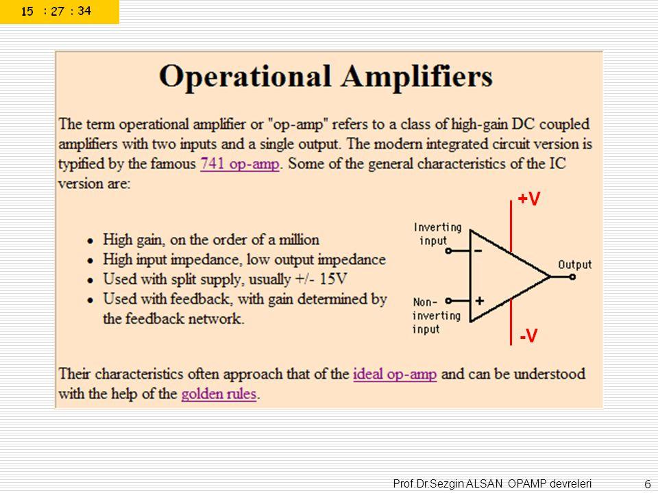 Prof.Dr.Sezgin ALSAN OPAMP devreleri 37 Non-inverting comparator