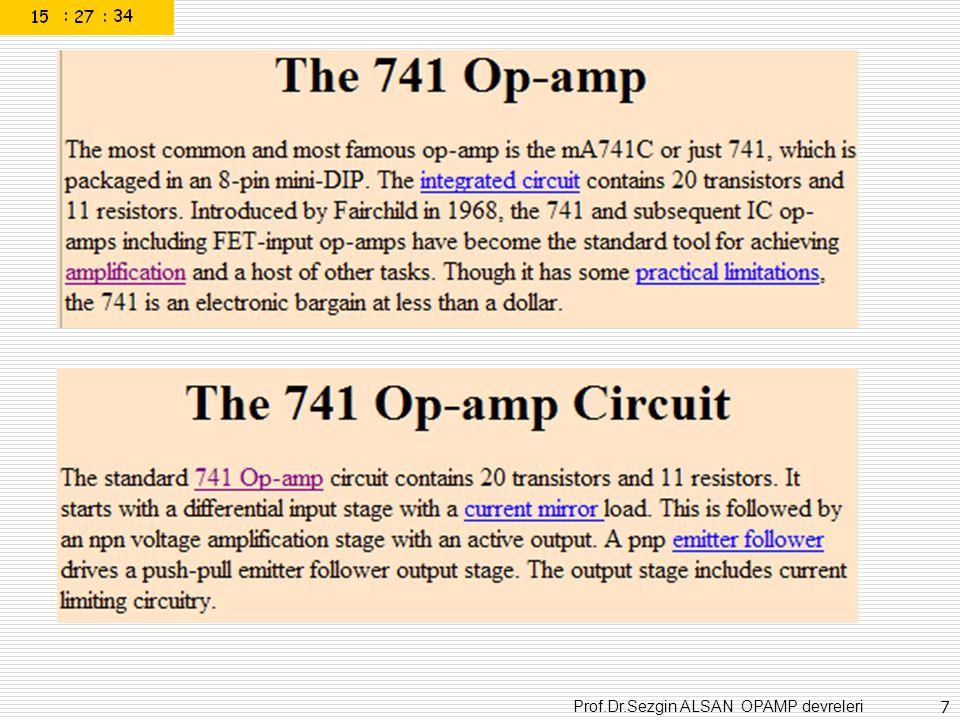 Prof.Dr.Sezgin ALSAN OPAMP devreleri 58 Osilasyon frekansı f = 1/2,2RC R= 100kohm C= 4,5nF f=1kHz olabilir.