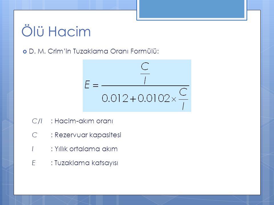 Ölü Hacim  D. M. Crim'in Tuzaklama Oranı Formülü: C/I : Hacim-akım oranı C : Rezervuar kapasitesi I : Yıllık ortalama akım E : Tuzaklama katsayısı