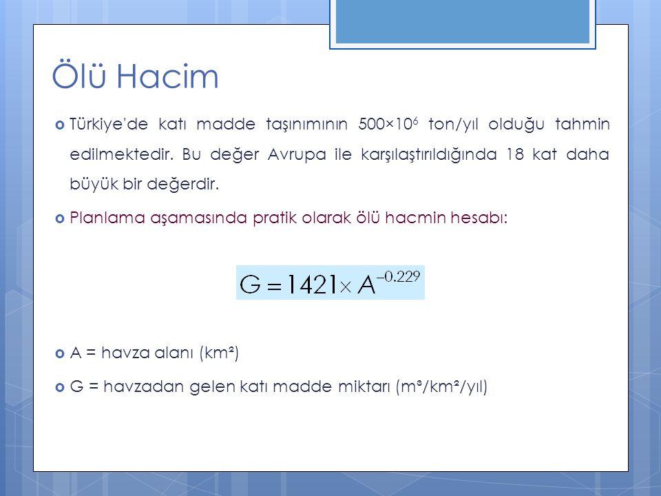  Türkiye'de katı madde taşınımının 500×10 6 ton/yıl olduğu tahmin edilmektedir. Bu değer Avrupa ile karşılaştırıldığında 18 kat daha büyük bir değerd