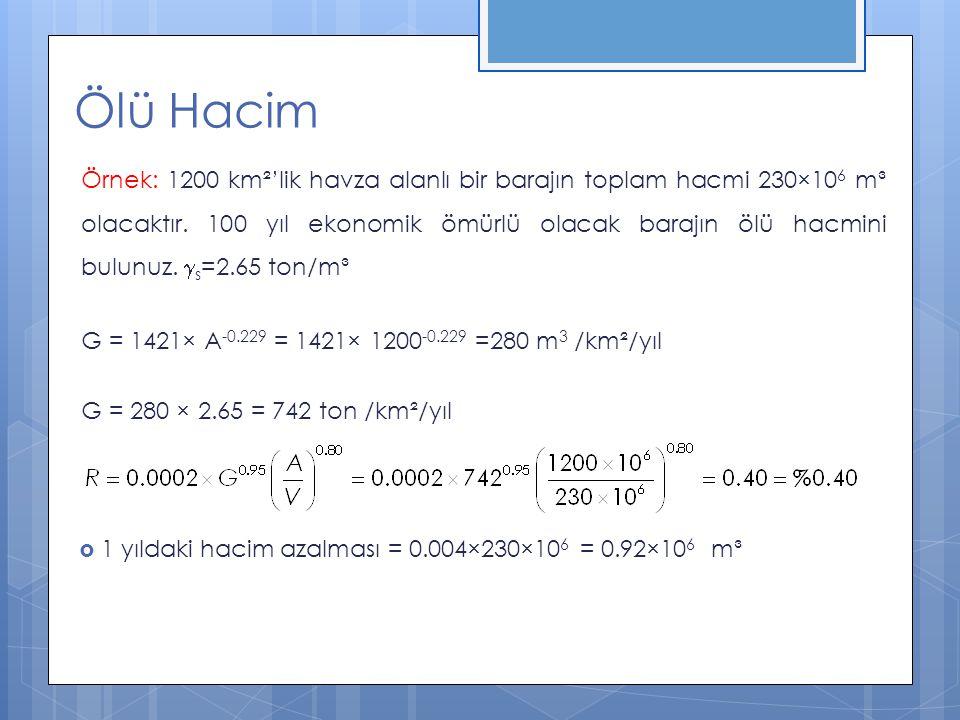 Ölü Hacim V ölü = 100×0.92×10 6 = 92×10 6 m³ V aktif = V top – V ölü = (230 – 92) ×10 6 = 138×10 6 m³ Şayet bulunan V aktif, daha önce Aktif hacmin hesabı ile ilgili yöntemler kullanılarak bulunan V aktif hacminden farklı ise yeni bir V top değeri seçilip işlemler tekrarlanır.