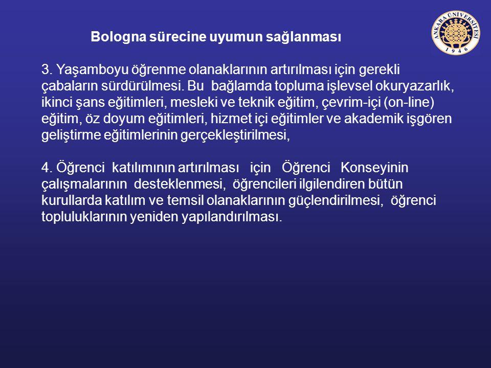 Bologna sürecine uyumun sağlanması 3. Yaşamboyu öğrenme olanaklarının artırılması için gerekli çabaların sürdürülmesi. Bu bağlamda topluma işlevsel ok