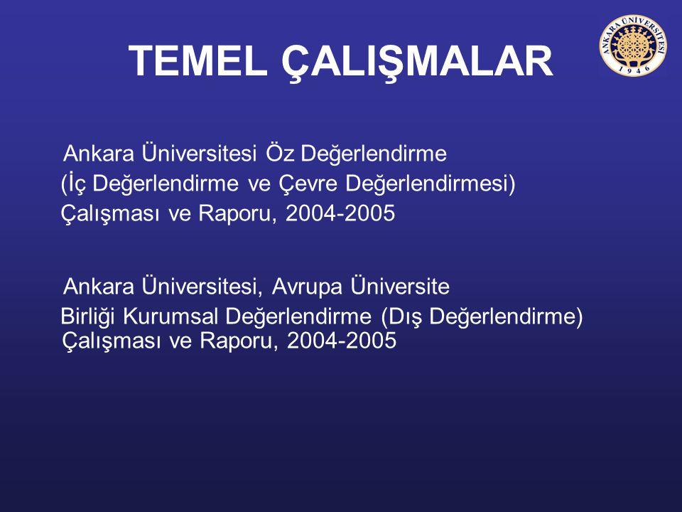 TEMEL ÇALIŞMALAR Ankara Üniversitesi Öz Değerlendirme (İç Değerlendirme ve Çevre Değerlendirmesi) Çalışması ve Raporu, 2004-2005 Ankara Üniversitesi,