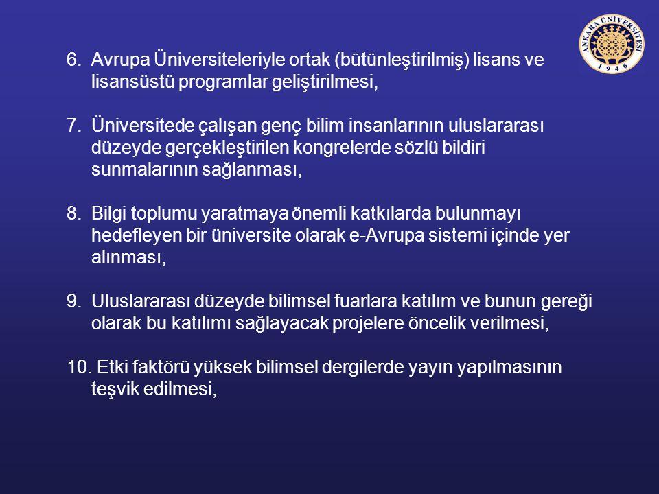 6.Avrupa Üniversiteleriyle ortak (bütünleştirilmiş) lisans ve lisansüstü programlar geliştirilmesi, 7.Üniversitede çalışan genç bilim insanlarının ulu