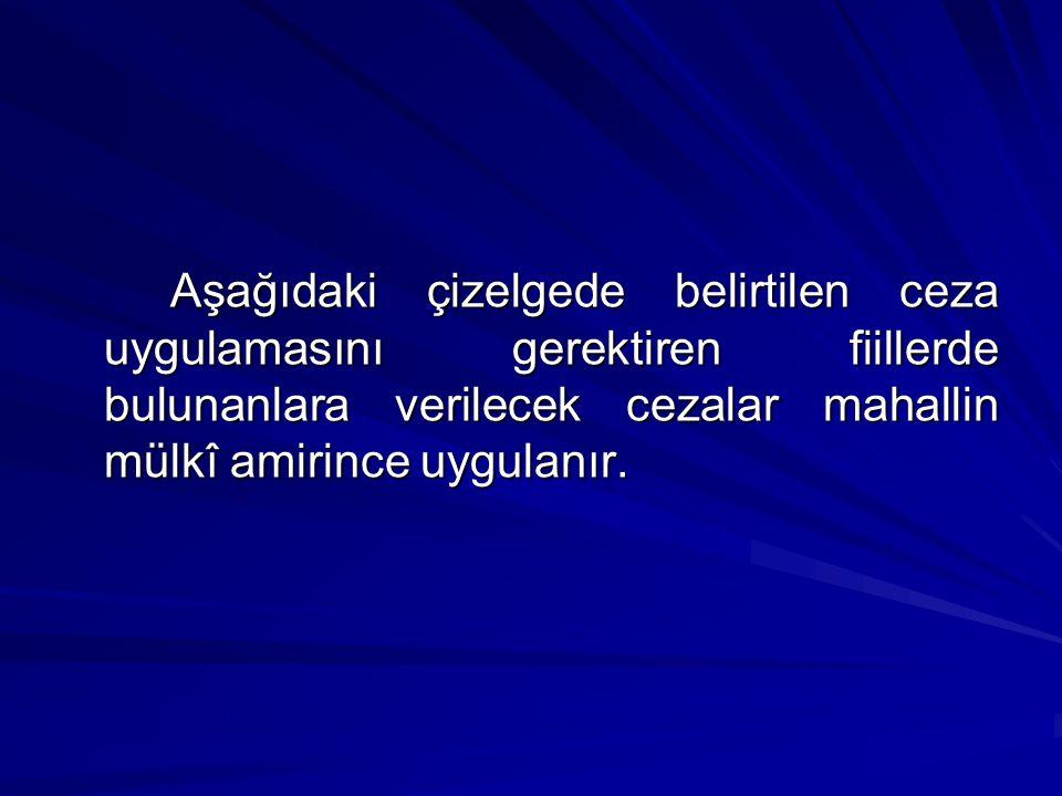 Aşağıdaki çizelgede belirtilen ceza uygulamasını gerektiren fiillerde bulunanlara verilecek cezalar mahallin mülkî amirince uygulanır.