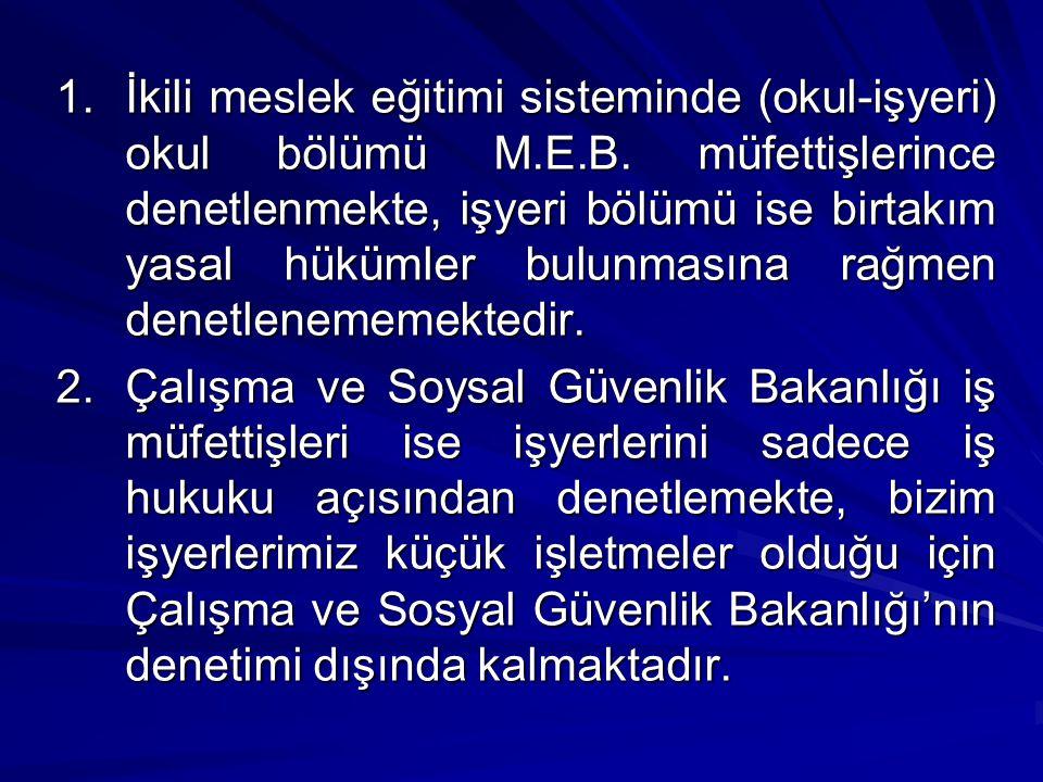 1.İkili meslek eğitimi sisteminde (okul-işyeri) okul bölümü M.E.B.