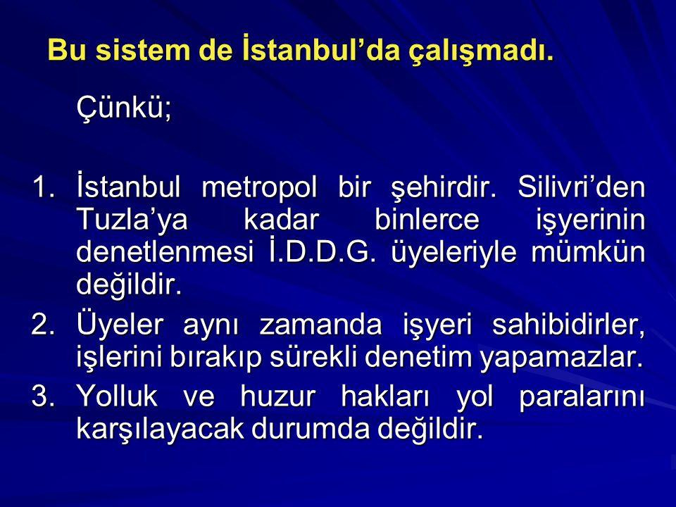 Bu sistem de İstanbul'da çalışmadı. Çünkü; 1.İstanbul metropol bir şehirdir.
